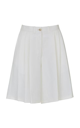 The Victoria Bermuda Shorts Linen Silk White