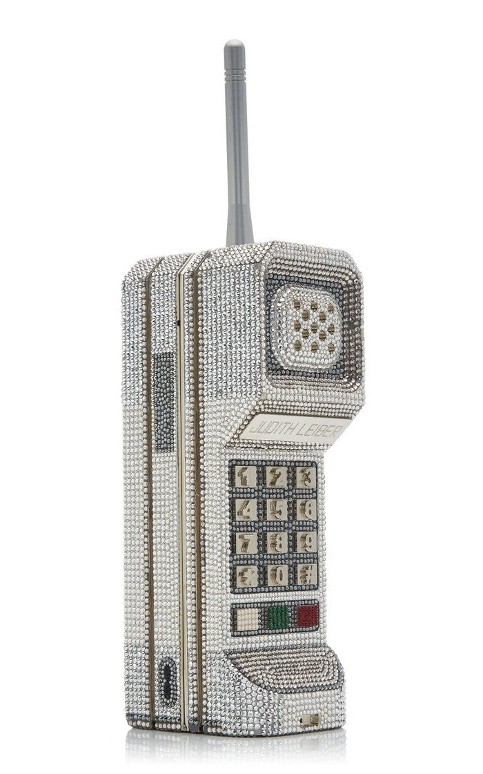 """Call Me"" Brick Phone Crystal Novelty Clutch"