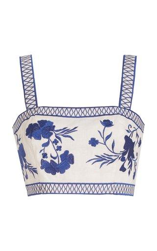Olva Embroidered Linen Crop Top