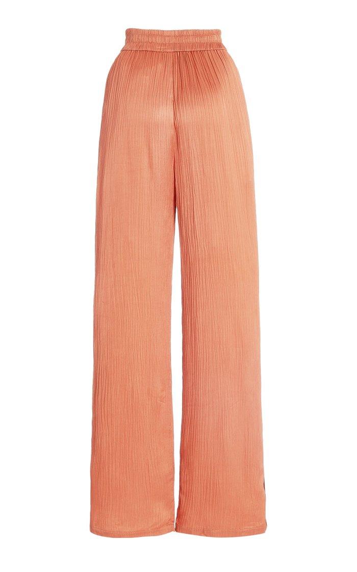 Makiko Crinkled Satin Wide-Leg Pants