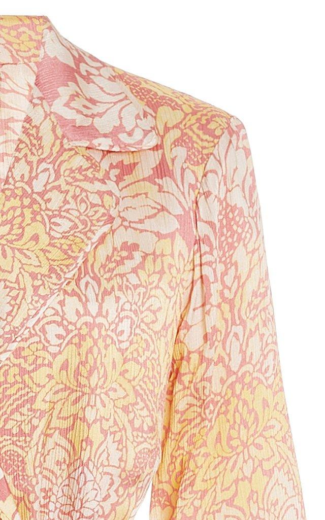 Aureta Printed Satin Mini Robe Dress