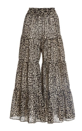 Farida Printed Voile Tiered Wide-Leg Pants
