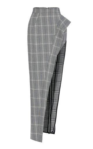 Emblem Checked Cut Away Linen-Cotton Skirt