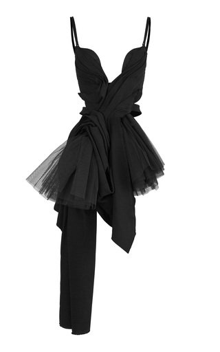 Bestow Draped Cady and Tulle Top