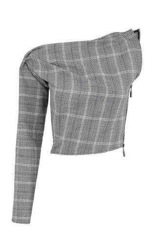 Principal Checked Linen-Cotton Top