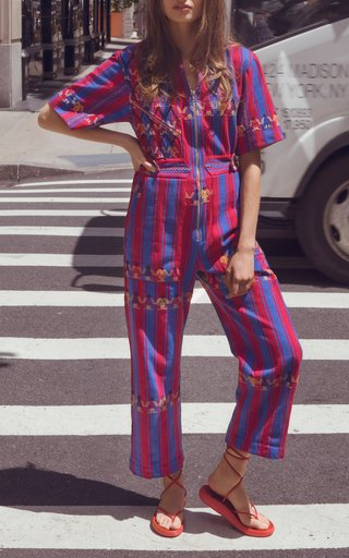 Short Sleeve Woven Cotton Jumpsuit