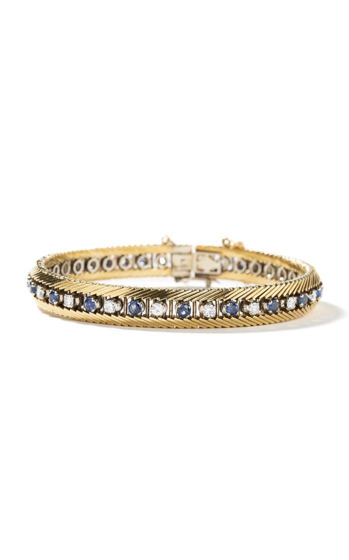 18K Yellow Gold & Platinum Vintage Cable Bracelet with Sapphire & Diamond