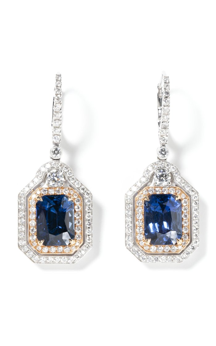 18k White Gold Salavetti Diamond & Unheated Madagascar Sapphire Drop Earrings