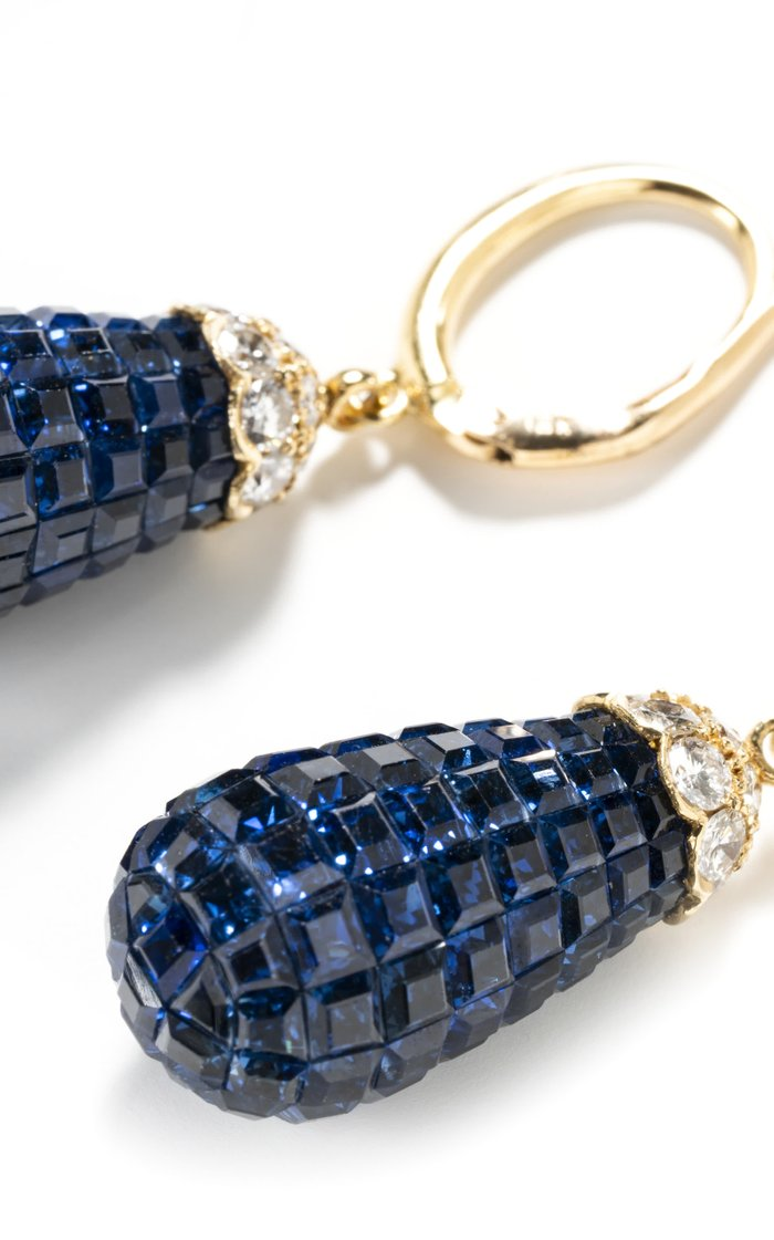 18K Yellow Gold Vintage Invisible Set Sapphire Earrings