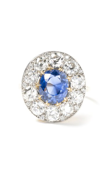 18k Cartier Ring with Ceylon Sapphire & Old European Cut Diamonds
