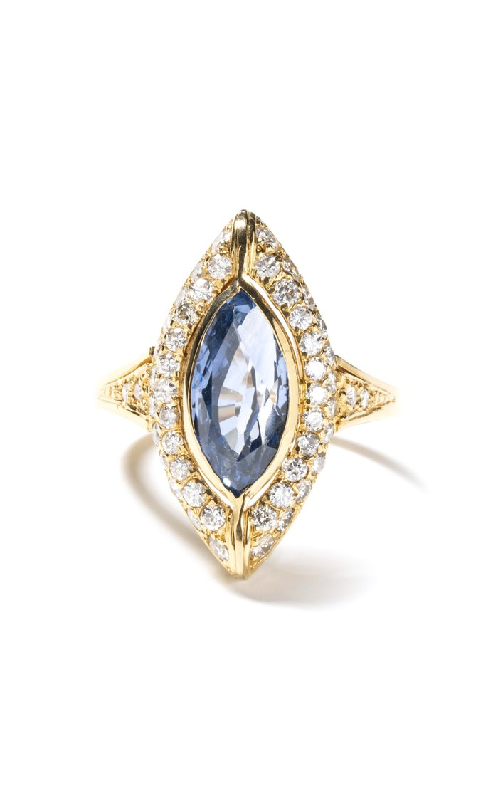 18K Yellow Gold Victorian Marquise Sapphire & Diamond Navette Ring