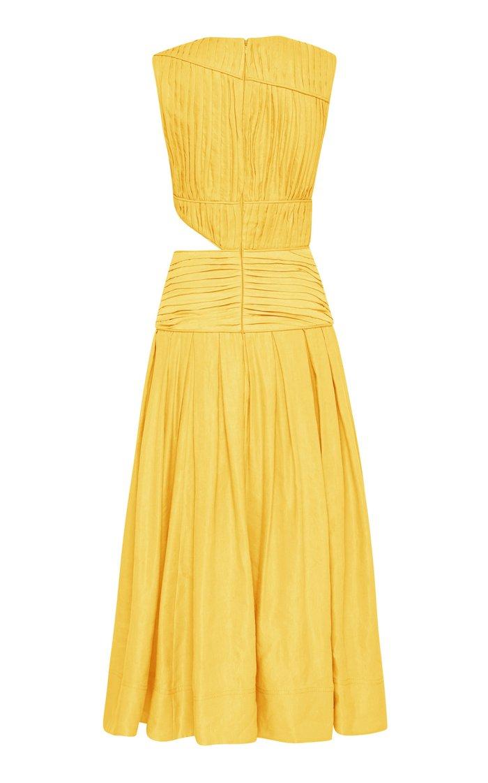 Cascade Cutout Pleated Linen-Blend Midi Dress