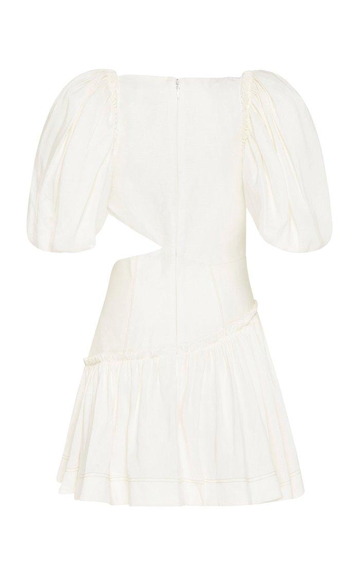 Chateau Asymmetric Cutout Linen-Blend Mini Dress