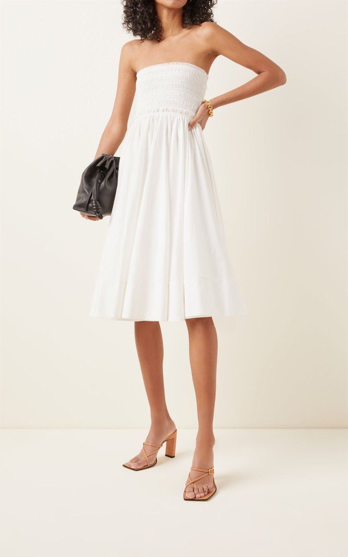 Cascade Smocked Cotton Midi Skirt