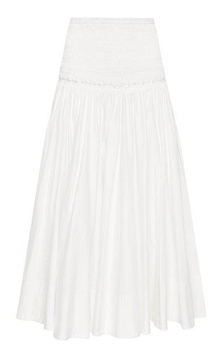 Cascade Smocked Cotton Midi Skirt