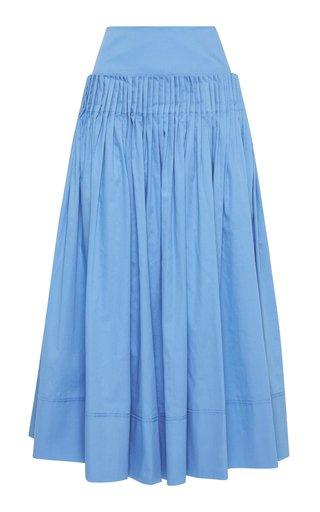 Savoy Pleated Cotton Midi Skirt