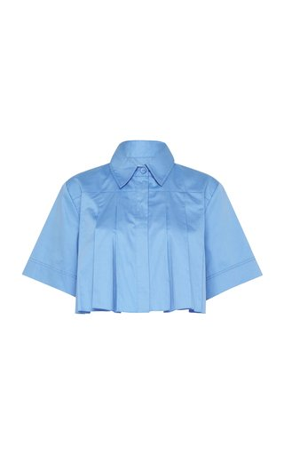 Savoy Pleated Cotton Cropped Shirt