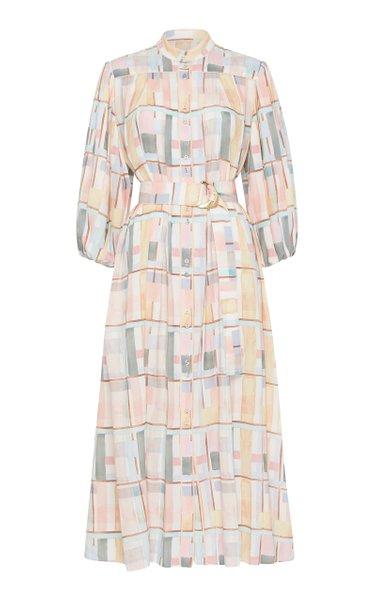 L'Espirit Printed Crepe Midi Shirt Dress