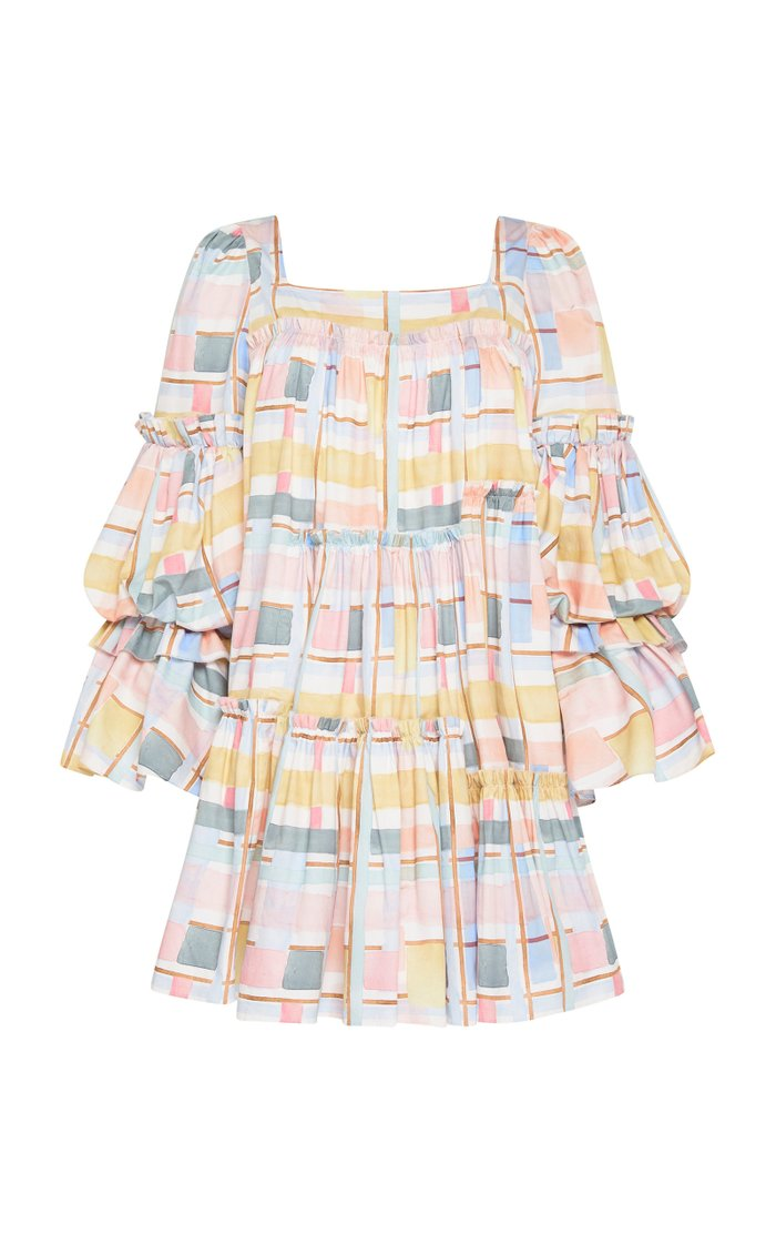 L'Espirit Tiered Printed Cotton Mini Dress