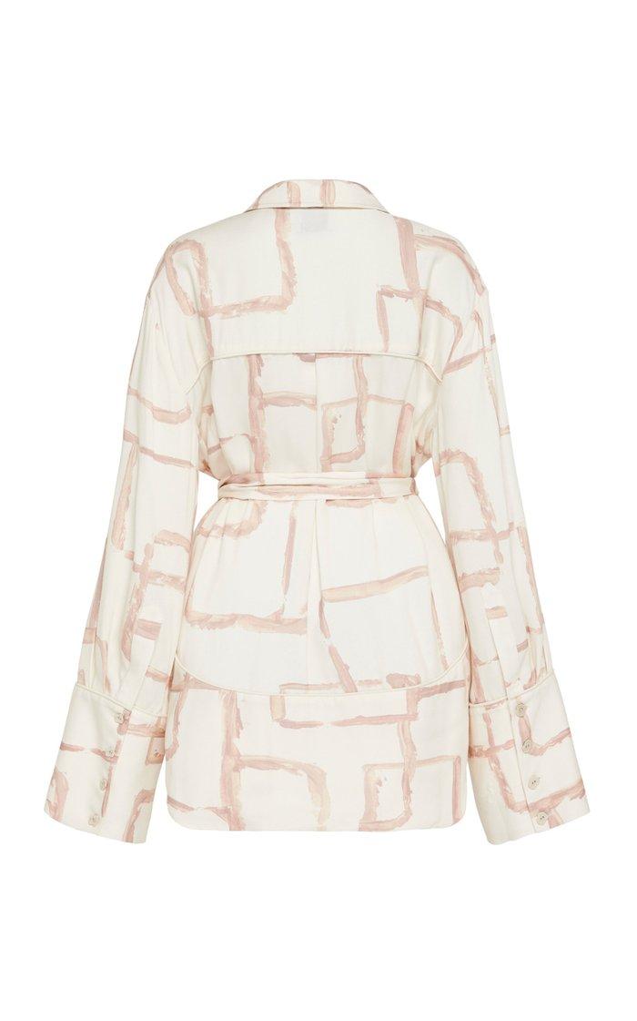 L'Espirit Printed Crepe Mini Shirt Dress