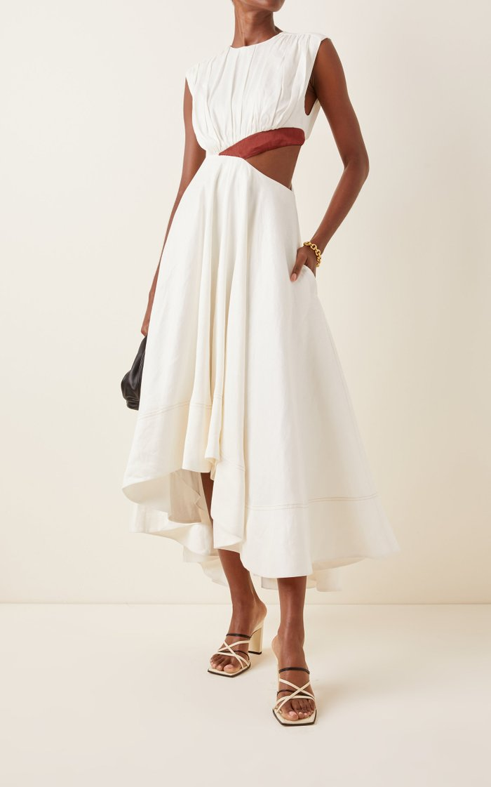 Reflection Cutout Linen-Blend Midi Dress