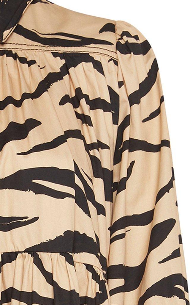 Nouveau Tiered Zebra-Print Cotton Mini Shirt Dress
