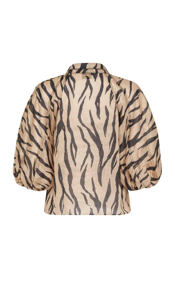 Nouveau Zebra-Print Linen-Silk Shirt
