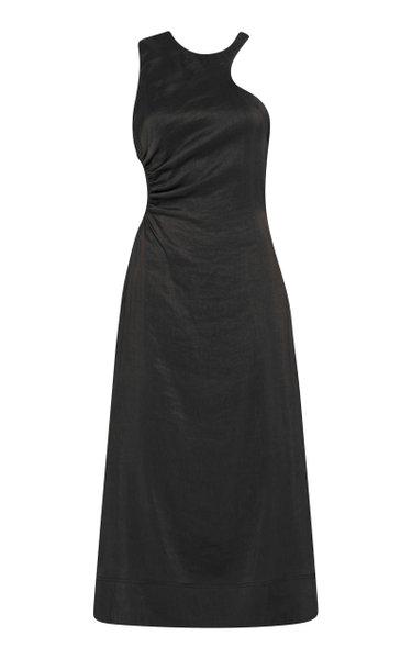 Chateau Cutout Linen-Blend Midi Dress