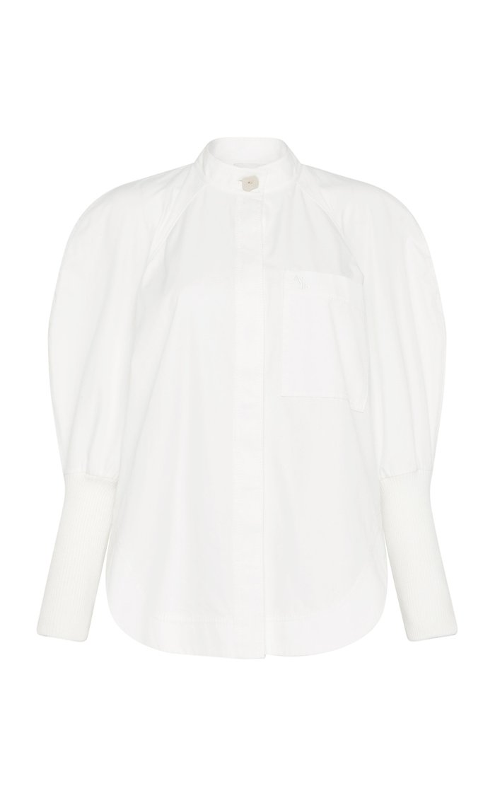 Chaise Puff-Sleeve Cotton Poplin Shirt