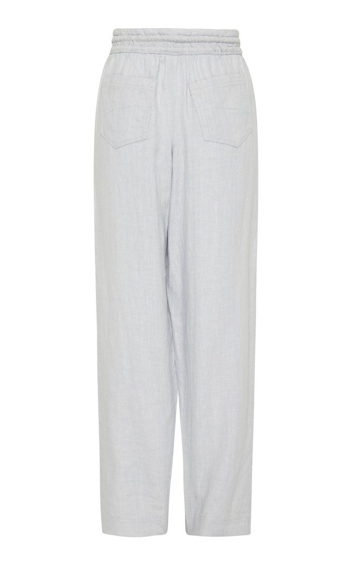 Ennoble Linen Wide-Leg Drawstring Pants