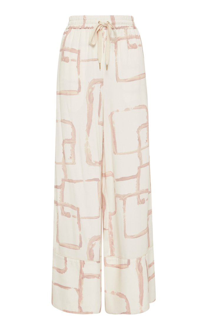 L'Espirit Printed Crepe Wide-Leg Pants
