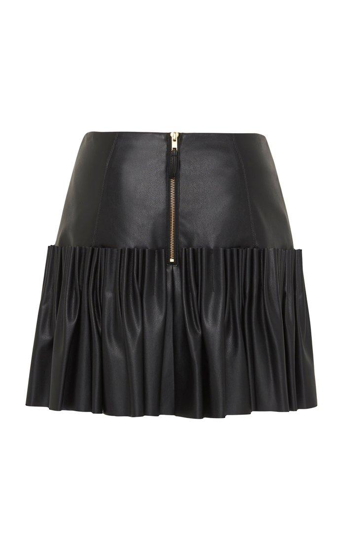 Lilou Pleated Faux Leather Mini Skirt