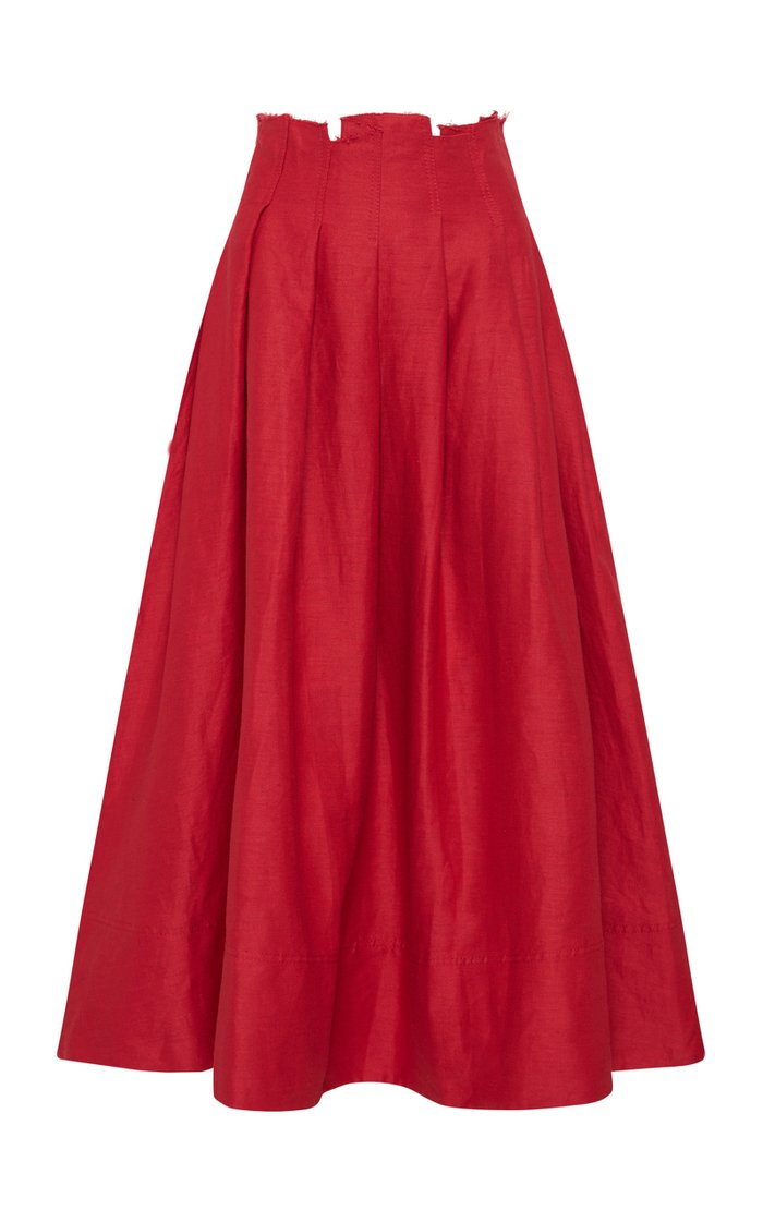Apres Pleated Linen Midi Skirt