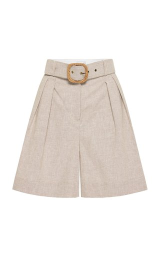 Zohra Belted Pleated Checked Cotton-Linen Shorts