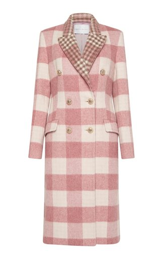 Milina Checked Wool-Blend Double-Breasted Coat