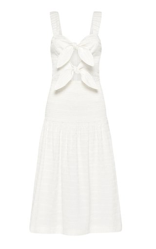 Jame Bow-Detailed Embroidered Cotton-Blend Midi Dress