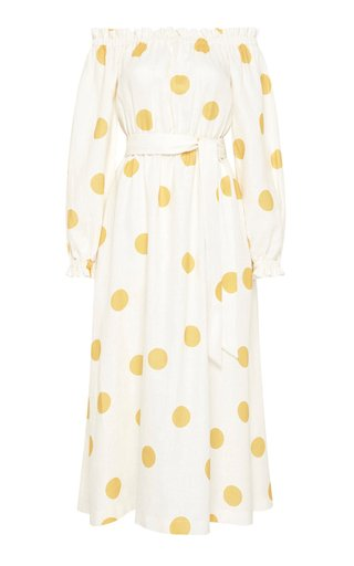 Aya Polka-Dot Linen Off-The-Shoulder Midi Dress