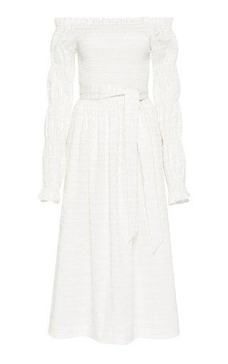 Jame Embroidered Cotton-Blend Off-The-Shoulder Midi Dress