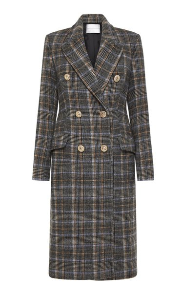 Rachida Checked Wool-Blend Double-Breasted Coat