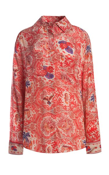 Mima Oversized Printed Crepe De Chine Shirt