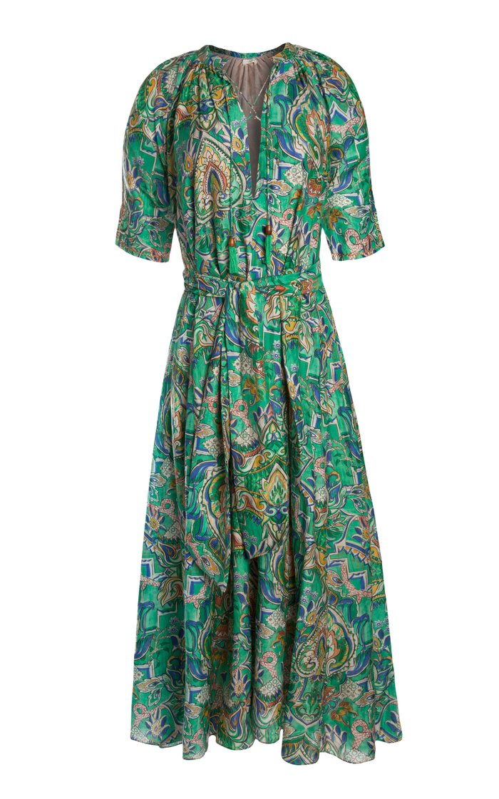 Yaza Printed Cotton-Silk Voile Maxi Dress