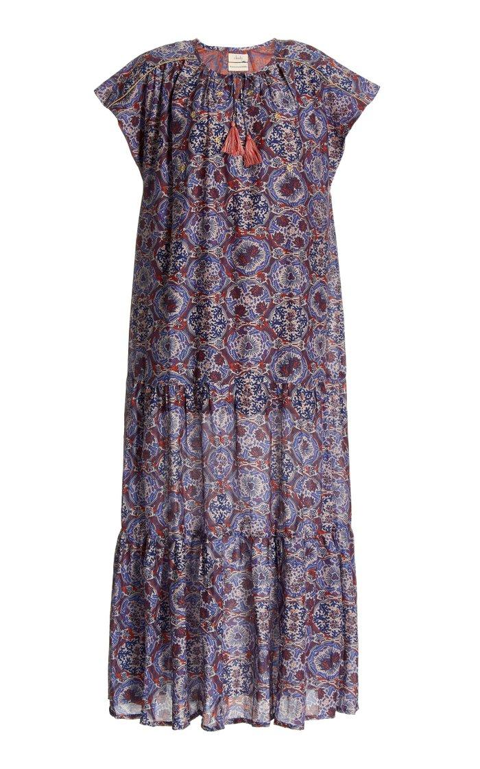 Sai Printed Cotton-Silk Maxi Dress