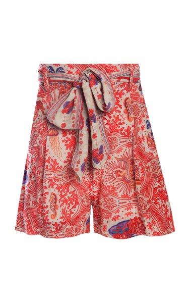 Nu Printed Crepe De Chine Shorts