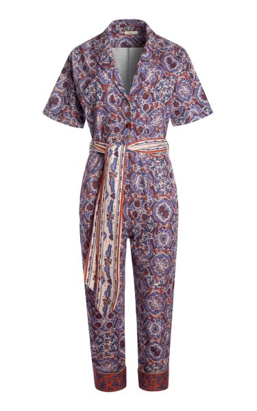 Chit Printed Cotton-Blend Jumpsuit