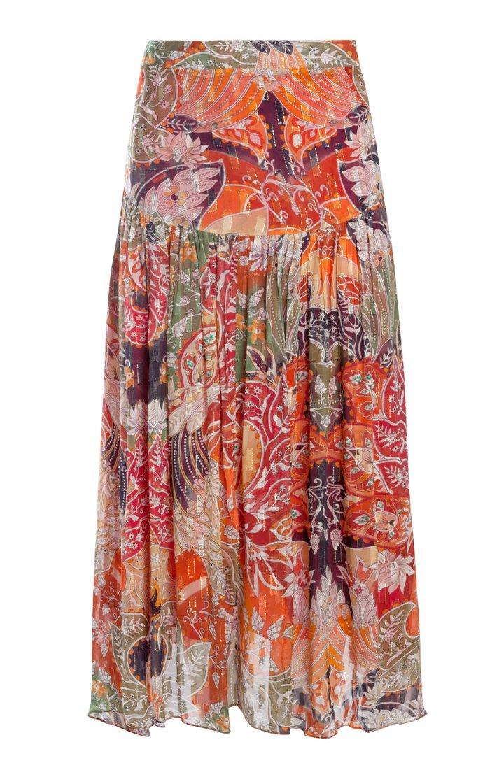 Cetan Metallic Fil Coupé Maxi Skirt