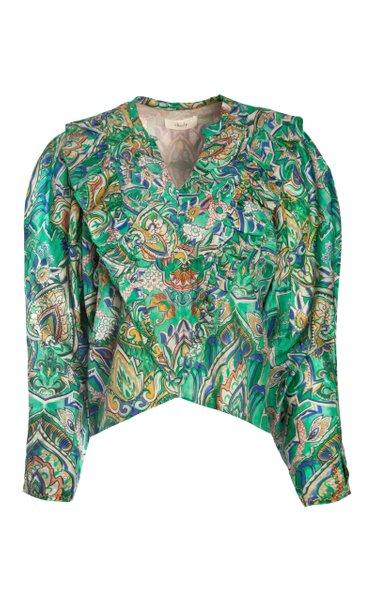Zeya Ruffled Printed Cotton-Silk Voile Top