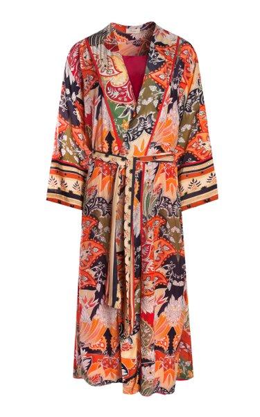 Dampa Oversized Printed Crepe De Chine Robe Dress