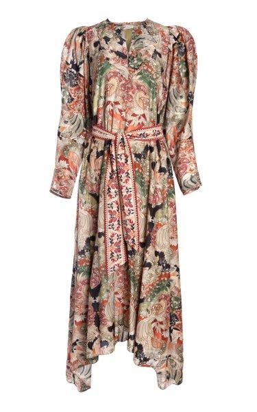 Amala Printed Cotton-Silk Voile Maxi Dress