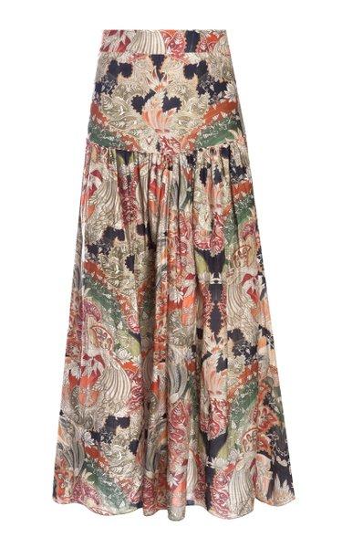 Dara Printed Cotton-Silk Voile Maxi Skirt