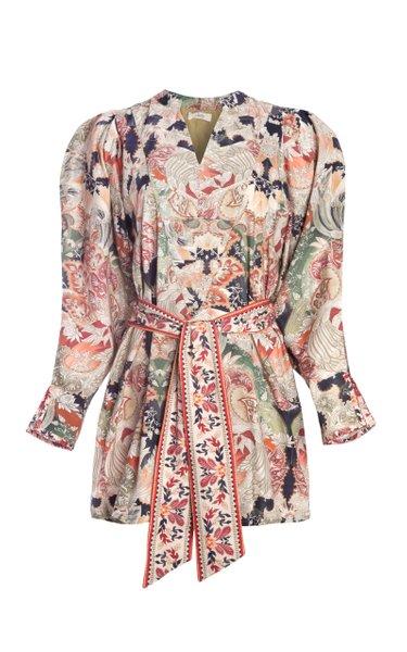 Zaw Puff-Sleeve Printed Cotton Poplin Mini Dress